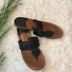 Jack Rogers Black Classic Palm Beach Flat Sandals